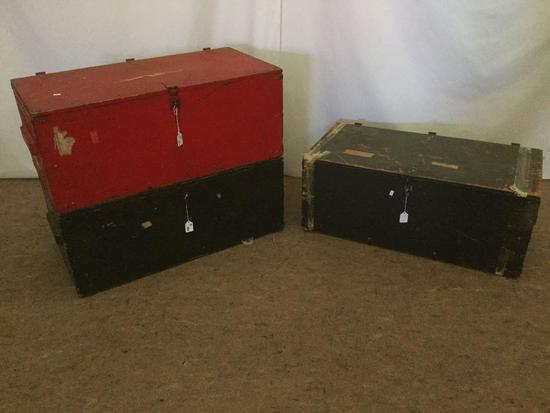 3 vintage 60's-70's military footlocker trunks incl. 1 by Texas Trunk Co & 1 by Economy MFG co