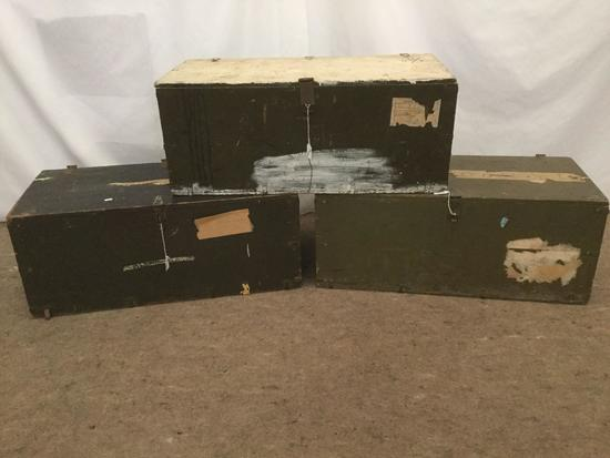 3 vintage green military footlocker storage trunks incl. 1 1951 Green Bingley trunk and more