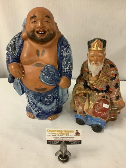 2 Asian Porcelain statues with bright colors - robed jubilant man (marked) + Imari painted elder