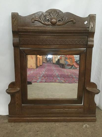 Small antique dresser top vanity mirror with candle shelves & carved molding