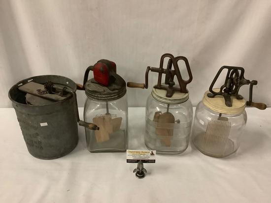 "Antique Sonny Boy ice cream bucket w/ 3 antique butter churns incl. ""Dandy"" 4 qt, unmarked 4 qt +"
