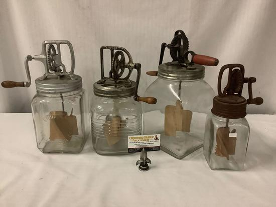Set of 4 antique Dazey butter churns with metal & wood lids/paddles, all marked - incl. #30 Dazey