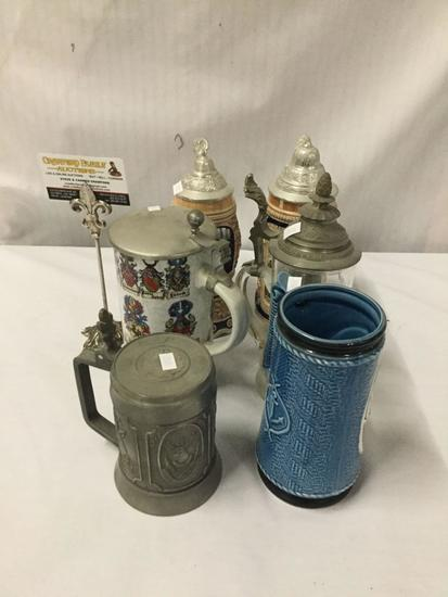 6 German steins made of metal, stoneware, glass. Handschliff, Mapsa and more!
