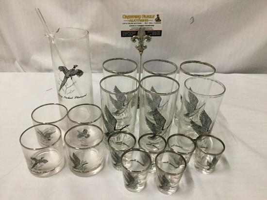 17 pc Canada Goose high balls, tumblers, and shot glasses w/ a pheasant pitcher & swizzle stick