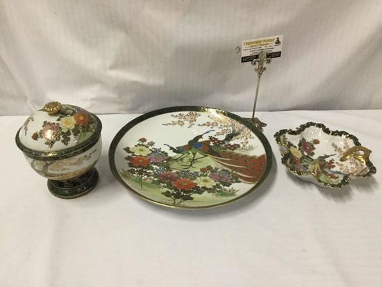 3 pc hand painted gold rimmed Kutani Shoxan porcelain Plate, bowl, and dish set - Made in Japan
