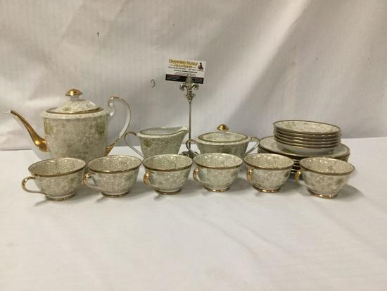 21 pc hand painted gold rimmed Kutani Shoxan porcelain tea service - Made in Japan.