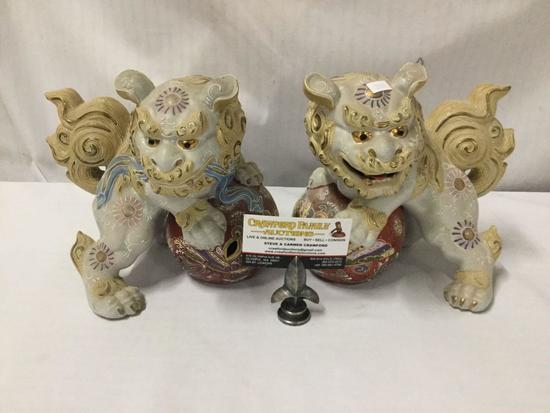 2 antique hand painted imari style Chinese porcelain Guardian Lion /foo dog statues.