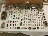 Huge lot of coral, rocks, primitive tools, arrowheads, crystals, and other fossils