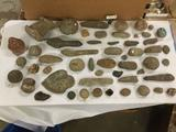 Big lot of primitive stone tools and rocks incl: fire starters, rock honing tools, scrappers, etc