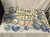 110 pieces of vintage blue flow, green and red china. Cups, plates, bowls and more. Liberty Blue,