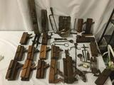 Massive antique tool lot - 25 planers, files, wrench, hanging beam scale & more primitives!