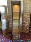 Vintage lighted open display shelf skinny curio with 3 glass shelves & cabinet bottom