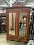 Maple wardrobe w/ mirrored door, clean styling & lighted shelves - now media cabinet