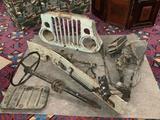 Lot of vintage Willys Jeep multipurpose passenger vehicle parts; grill, steering wheel, dash w/ key,