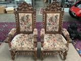 Pair of Victorian parlor chairs w/ upholstered seats, barley twist backs & carved Dragon design
