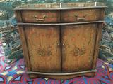 Antiqued modern floral small credenza hall table with burnished veneer, and fine design