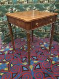 Austere Maitland Smith Chess & Backgammon table w/ carved legs, brass fixtures +
