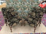 Pair of vintage parlor chairs with mahogany frame, carved lion detail and floral upholstery