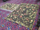 Lot of 2 matching wool area rugs in 2 sizes with floral design, both in great shape