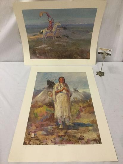 Pair of Ace Powell artist proof litho's - Buffalo & Two Dolls #'d AP of 1000