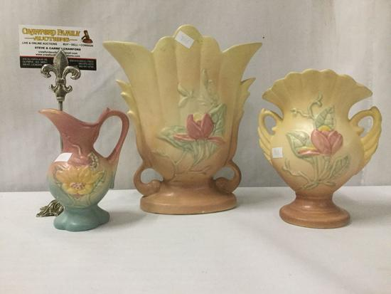 Hull pottery 1930-40's dual handle tulip motif vase, swan handled tulip vase & sunflower pitcher
