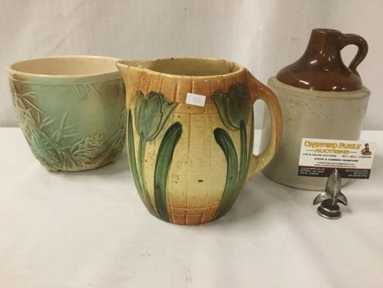 Antique ceramics lots incl. 1870s ceramic beer pitcher, & two tone growler jug