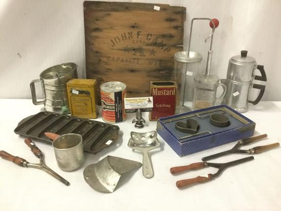 15+ vintage kitchen primitives incl. mayonnaise jars, tins/tools, cast iron cornbread pan etc