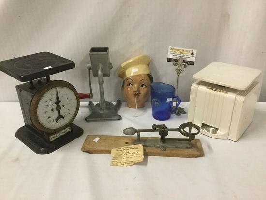 6 vintage kitchen items incl. American Cutlery co kitchen scale, ice shaver/crusher, Reliable egg