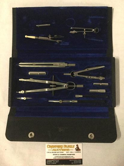 Vintage Keuffel & Esser drafting set in original instrument case - appears complete