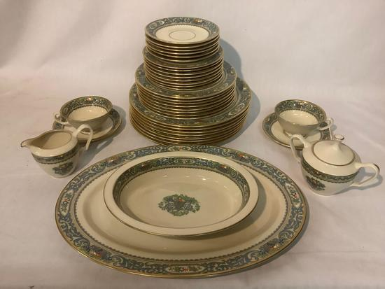 38 pc Lenox - Autumn gold rimmed china set w/ floral designs - see pics service for 8