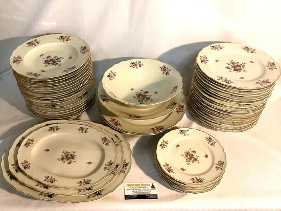 52 pc of K&A Krautheim (Selb Bavaria Germany) china, pattern no 23 - gold rimmed w/ floral design