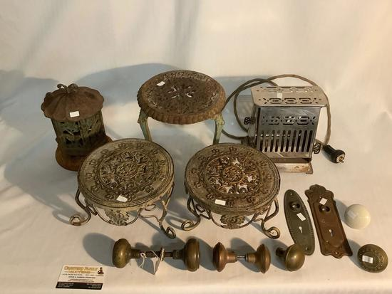 Lot of antique home metal decor incl. Hotpoint electric toaster, 3x ornate plants stands etc