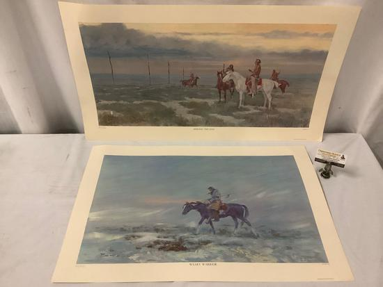 "2 artist proof litho's by Asa Lynn ""Ace"" Powell of Montana - Jerking the Line & Weary Warrior"