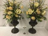 Elegant antique look metal vases incl. marble base w/ ram head decoration - believed to be Maitland