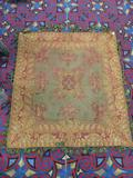 Antique floral motif Victorian rug with tassel - classic gold and red design - as is