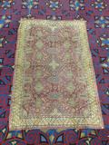 Antique geometric design Iranian style rug - shows age wear