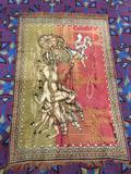 Vintage Greek chariot scene rug tapestry with fringe on sides - shows light wear