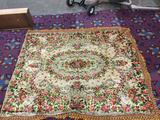 Antique 1800s floral rose & cherub pattern wool rug with fringe on three sides - shows light wear