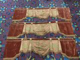 3 antique velvet window valances w/ a floral pattern - incl. 2 tassels, shows some wear from age