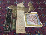 Selection of antique & vintage fabric pcs incl. table runners, rug, Victorian lamp/vase mats +