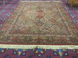 Gigantic Karastan wool rig with multicolor panel kirman pattern and fringe - matches 204