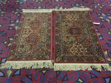 Pair of Karastan wool rugs with multicolor panel Kirman pattern and fringe - matches 203