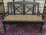Carven Enterprises black settee bench with floral upholstery
