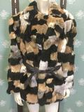 Vintage women's custom made Rabbit & Mink fur coat with leather belt