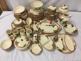 Massive 75 pc Franciscan Ware mid 50s apple pattern dining service - most pcs in great shape