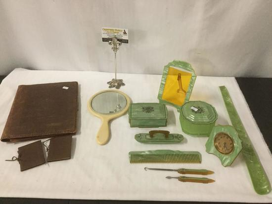 Antique art deco bakelite vanity set incl. frame, clock, comb, picks, mirror