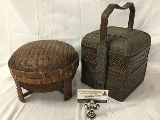 Lot of 2 antique Asian food containers; woven rice basket and bento box