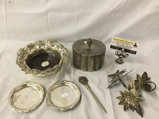 8 pc vintage silver plate - stone inlay letter opener, decorative Asian bowl, etc
