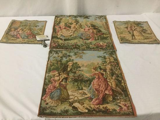 Two pairs of French Goblys decorative tapestries, approx. 20x20 inches.