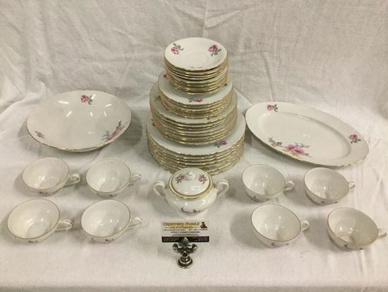 43 pc mid century Czechoslovakia gold rimmed bohemia china set for 8 with pink floral pattern